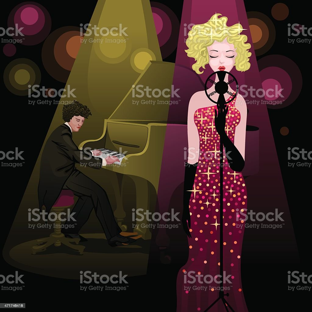 pretty singer lady and pianist on stage vector art illustration