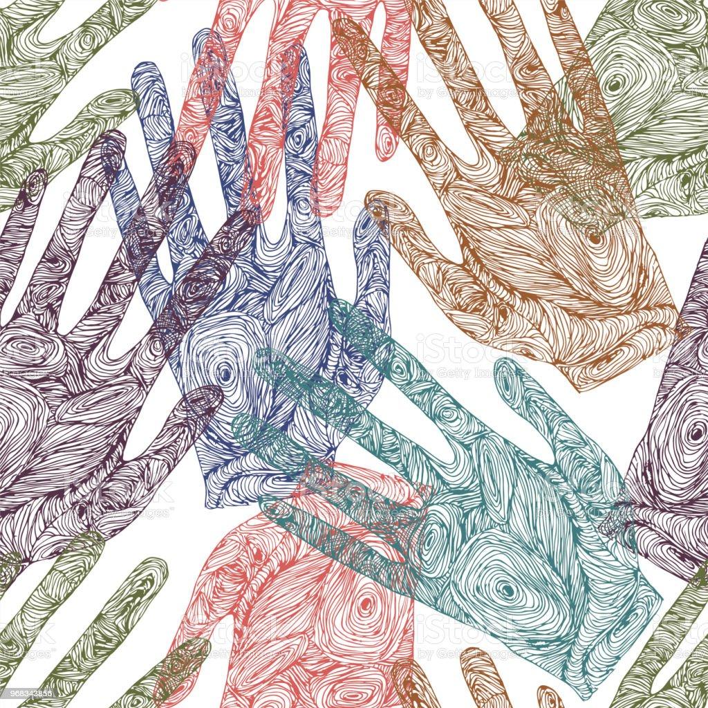 Ilustración De Dibujo Bonito Enredo Huella De La Mano Y Más Banco De