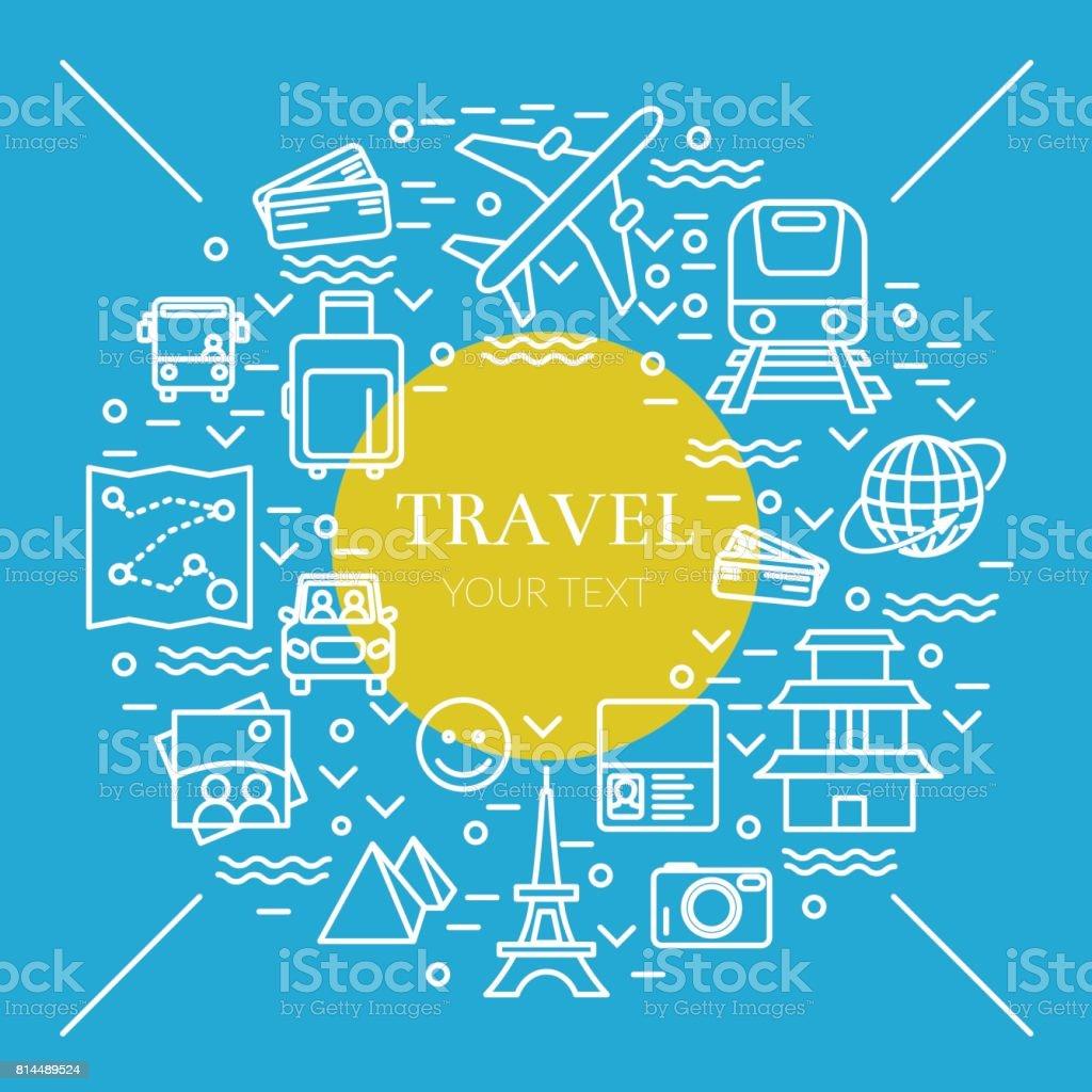 Ilustração em vetor linha muito fina com símbolos de ícones de viagens - ilustração de arte em vetor