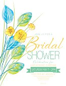 Watercolor Flowers bridal shower Party Invitation Template. There is a room for text. Ideal for bridal or baby showers,wedding invitations, garden party or tea parties. Soft feminine colors.