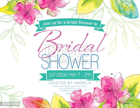 istock Pretty Watercolor Flowers Bridal Shower Party Invitation Template 502974094