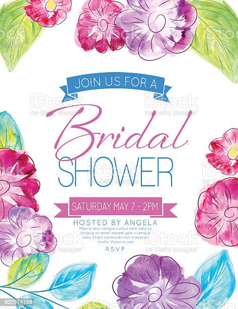 Pretty watercolor flowers bridal shower party invitation template vector id502974158?b=1&k=6&m=502974158&s=612x612&h=woczdwx qejvwplpczs0v6wve42fosklt7dmtqy6uy0=