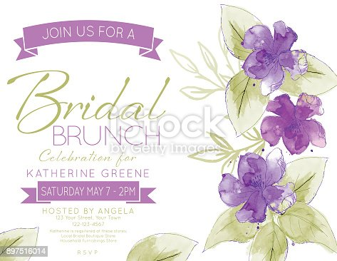 istock Pretty Watercolor Flowers Bridal Shower Party Invitation Template 897516014