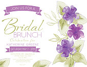 Feminine Watercolor Flowers Bridal Shower Lunch Invitation Template
