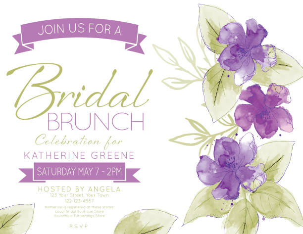 Pretty Watercolor Flowers Bridal Shower Party Invitation Template Feminine Watercolor Flowers Bridal Shower Lunch Invitation Template violet flower stock illustrations