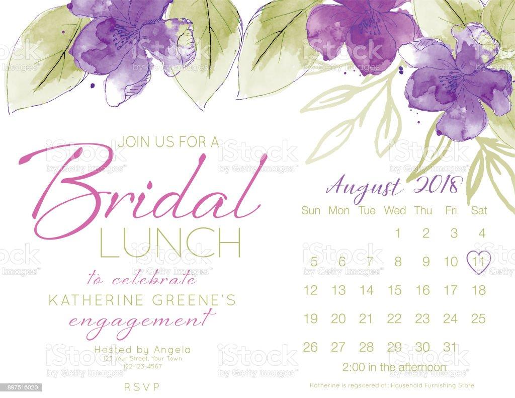 Hübsche Aquarell Blumen Brautparty-Party-Einladung Vorlage – Vektorgrafik