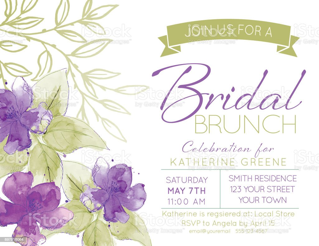 pretty watercolor flowers bridal shower party invitation template royalty free pretty watercolor flowers bridal shower