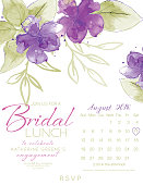 Feminine Watercolor Flowers Bridal Shower Lunch Invitation Template