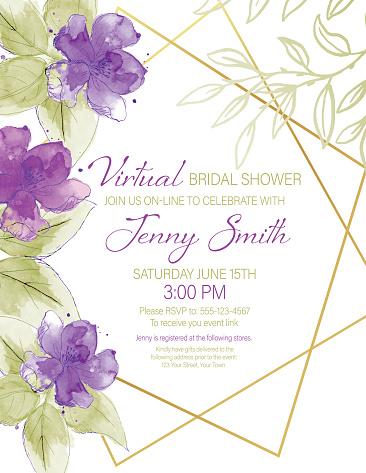 Pretty Watercolor Flowers Virtual Bridal Shower Party Invitation