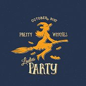 Pretty Witches Ladies Party Halloween Vector Label, Emblem or Card