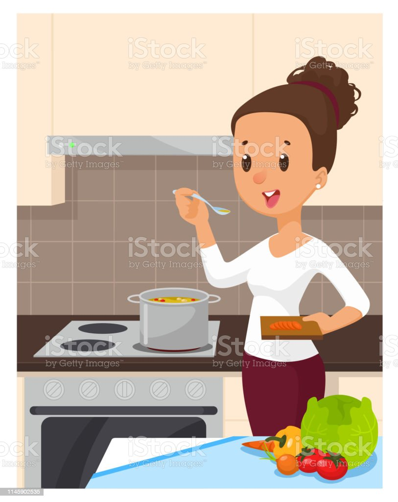 Pretty Woman Cooking Soup At The Kitchen Cartoon Vector