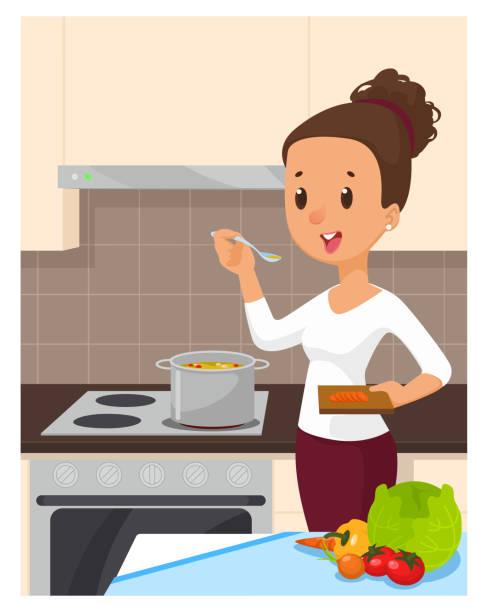ilustrações de stock, clip art, desenhos animados e ícones de pretty woman cooking soup at the kitchen. cartoon vector illustration - cooker happy