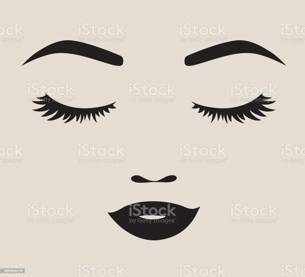 Hübsche Frau Gesicht Silhouette Vektor-Illustration – Vektorgrafik