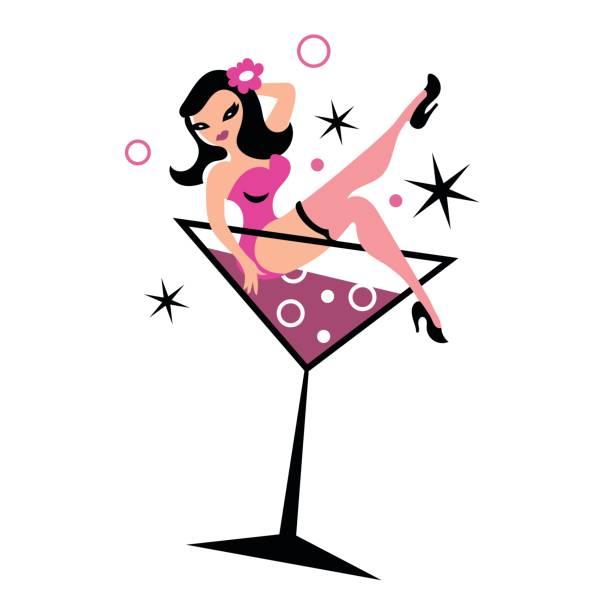 Pretty woman in martini glass vector art illustration