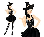 Pretty woman in witch costume.