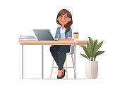istock Pretty woman is sitting at  desktop. Office employee at the workplace. Work at the laptop. Vector illustration in cartoon style 1202018186