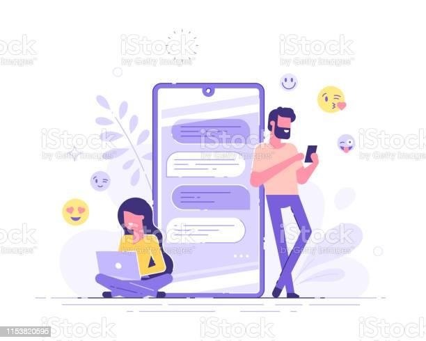 예쁜 여자는 그녀의 노트북에 앉아 배경에 거 대 한 전화와 잘생긴 남자와 채팅을 하 고 있습니다 데이트 앱과 가상 관계 채팅 버블 현대 벡터 일러스트입니다 기포에 대한 스톡 벡터 아트 및 기타 이미지