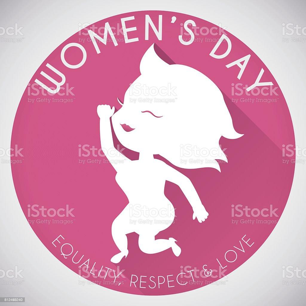 Ilustración De Silueta De Mujer Bonita En Botón Redondo Para Mujeres