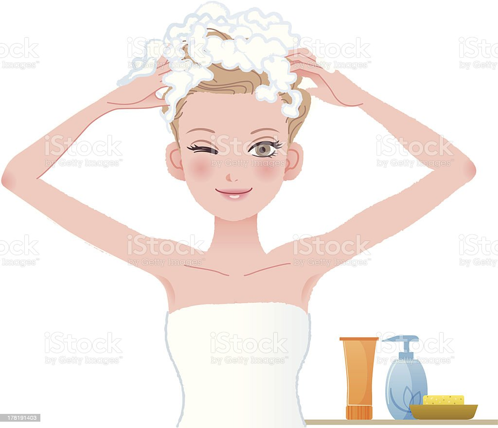 Pretty woman soaping her head on white background vector art illustration