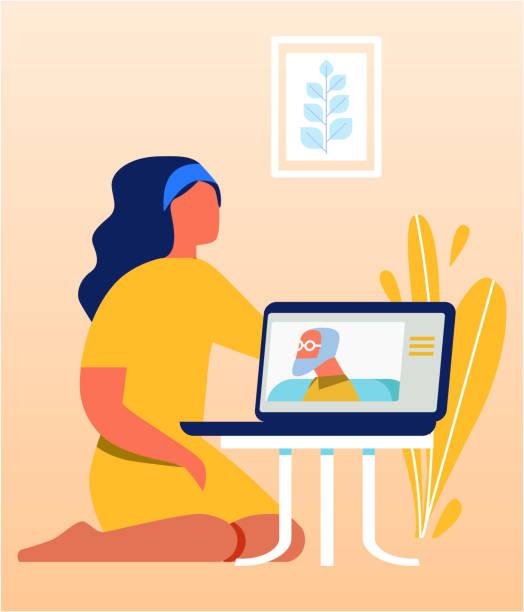 bildbanksillustrationer, clip art samt tecknat material och ikoner med vacker kvinna talar med gamla relativa via laptop - parent talking to child