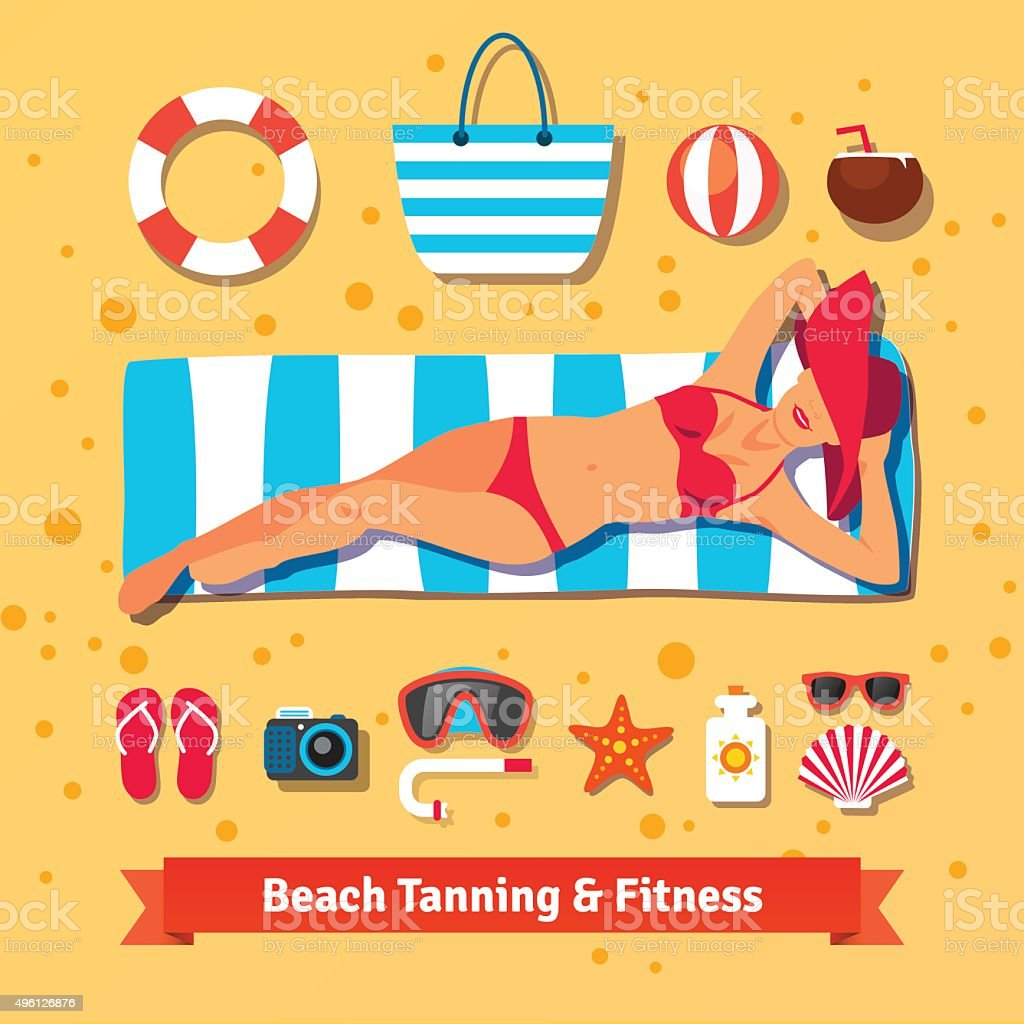 Pretty woman tanning on the beach. Sea vacation vector art illustration