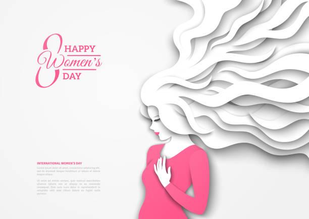 長い髪のきれいな女性 - 美容室 3d点のイラスト素材/クリップアート素材/マンガ素材/アイコン素材