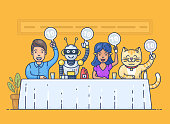 Pretty young girl, funny robot, happy young man,  and cute cat holding scorecards. Jury judges sitting at the table. Colorful cartoon characters. Flat outline vector illustration in modern style