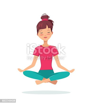 istock Pretty young girl practices yoga in the lotus position. 832249408