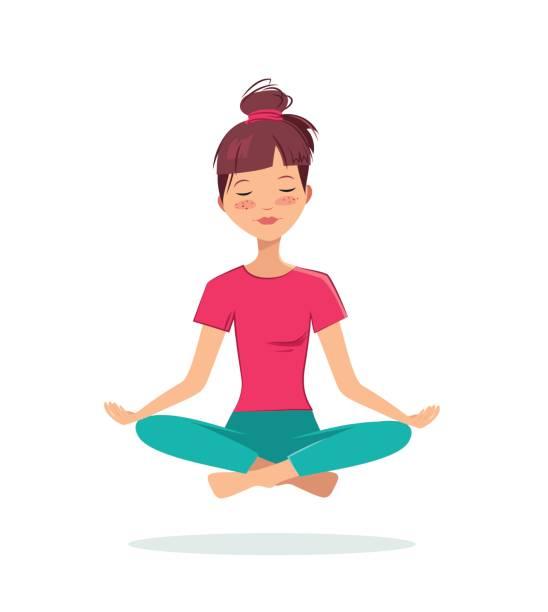 bildbanksillustrationer, clip art samt tecknat material och ikoner med ganska ung flicka praxis yoga i lotusställning. - unga kvinnor