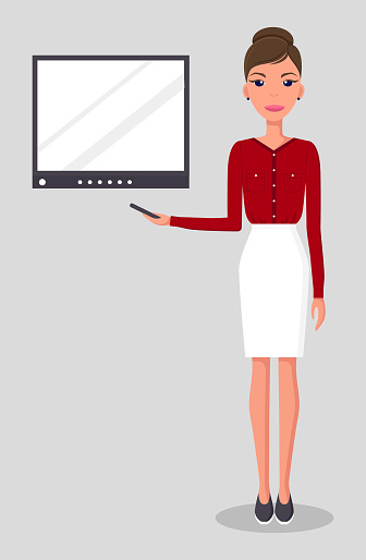 Pretty young slim woman in business clothes. Business woman presents a report flat illustration