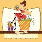 pretty young woman who is happy that she went shopping, vector illustration