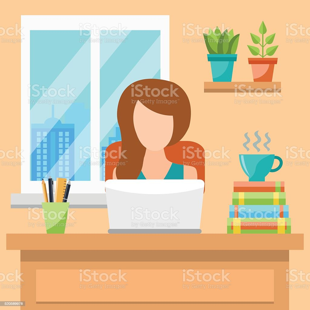 Merveilleux Pretty Young Woman Working At Office Concept Vector Art Illustration