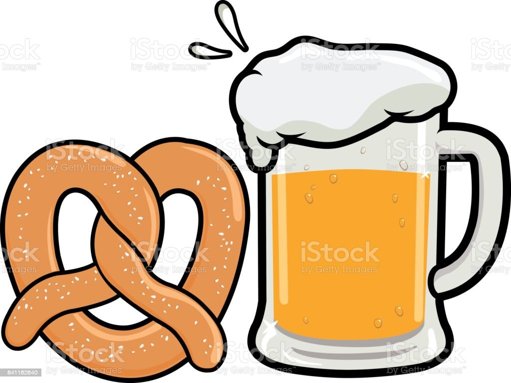 Pretzel and beer vector art illustration