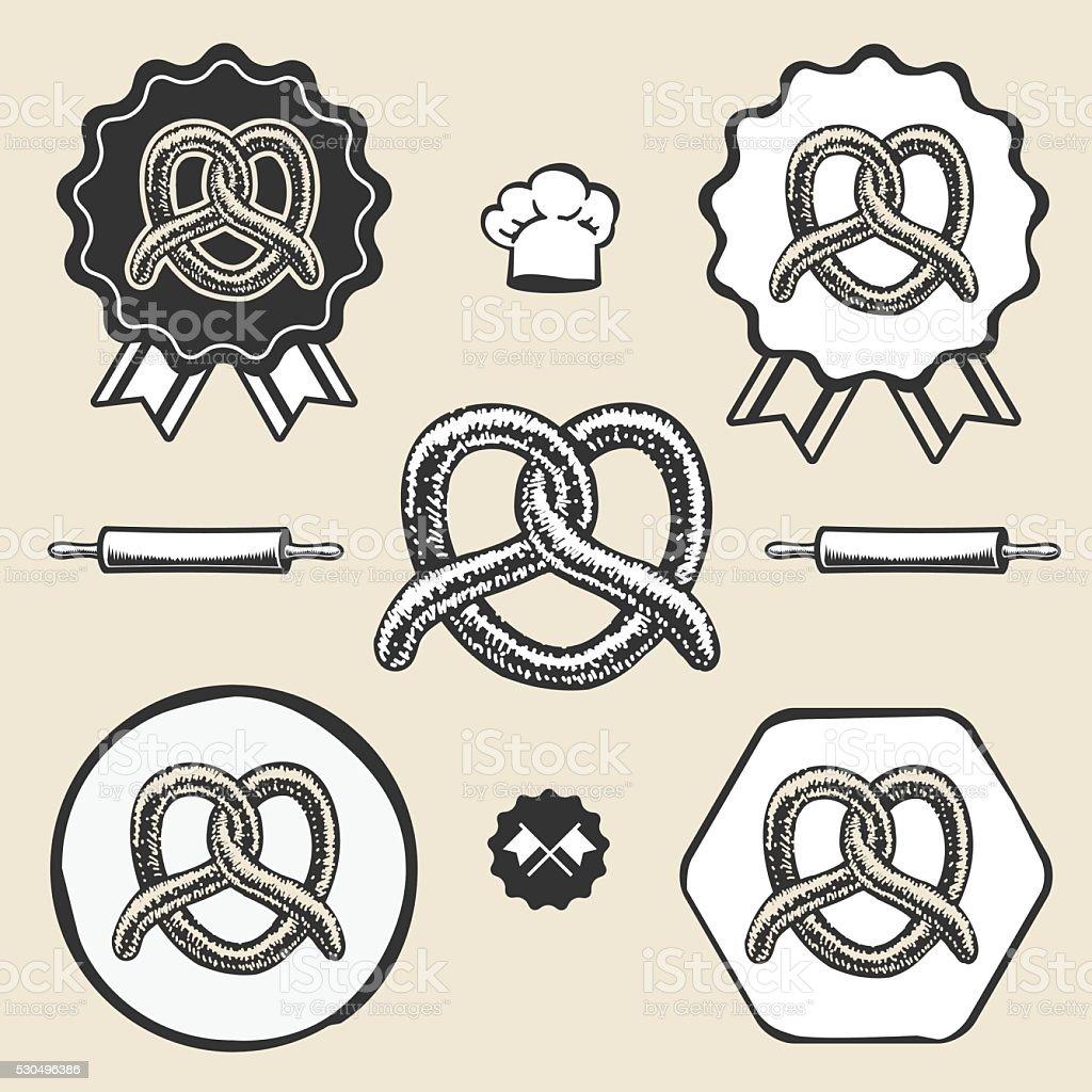 Pretzel bakery vintage symbol emblem label collection vector art illustration