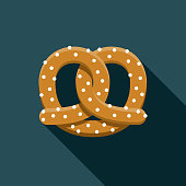 Pretzel Flat Design Carnival Icon with Side Shadow
