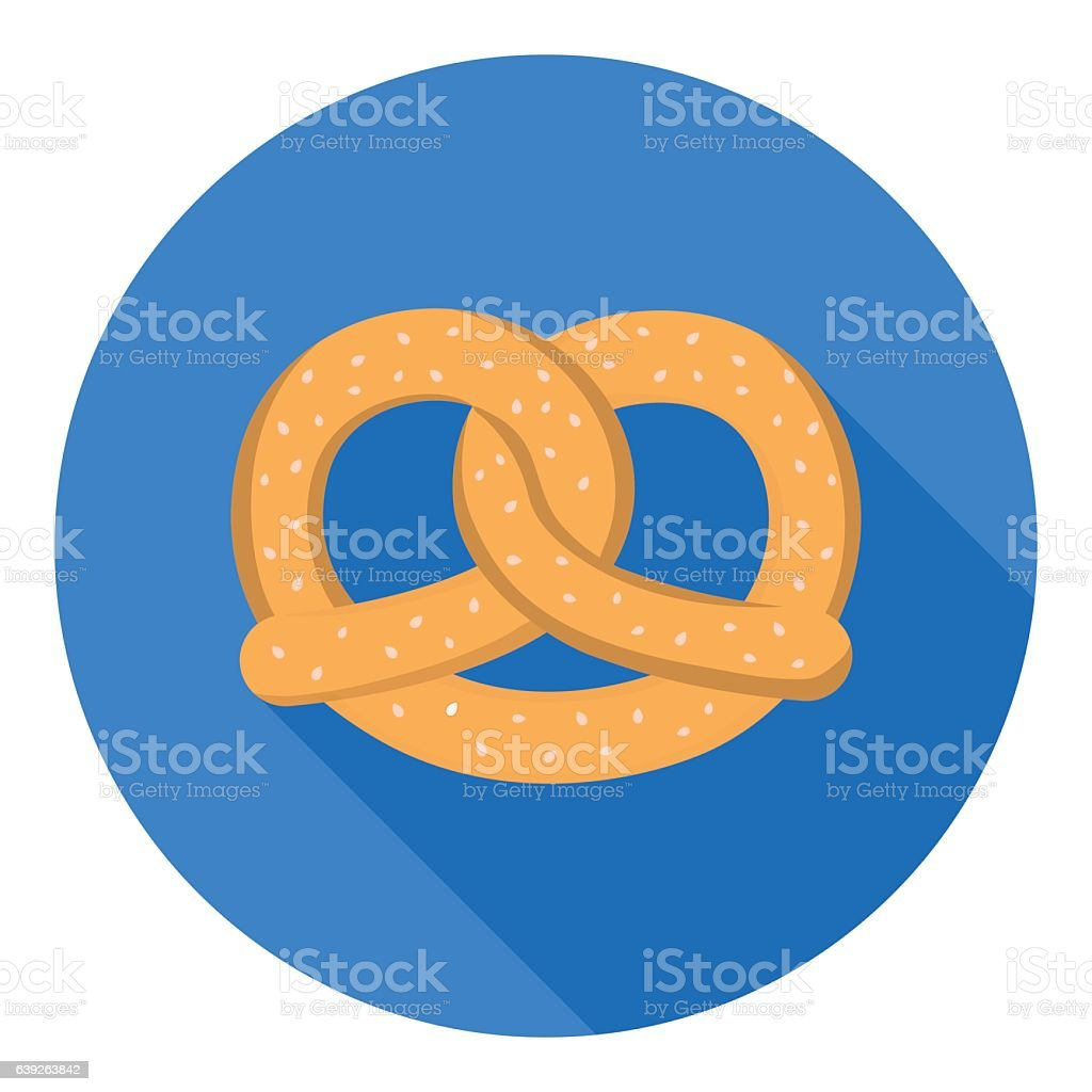 Pretzel icon in flat style isolated on white background. Oktober vector art illustration