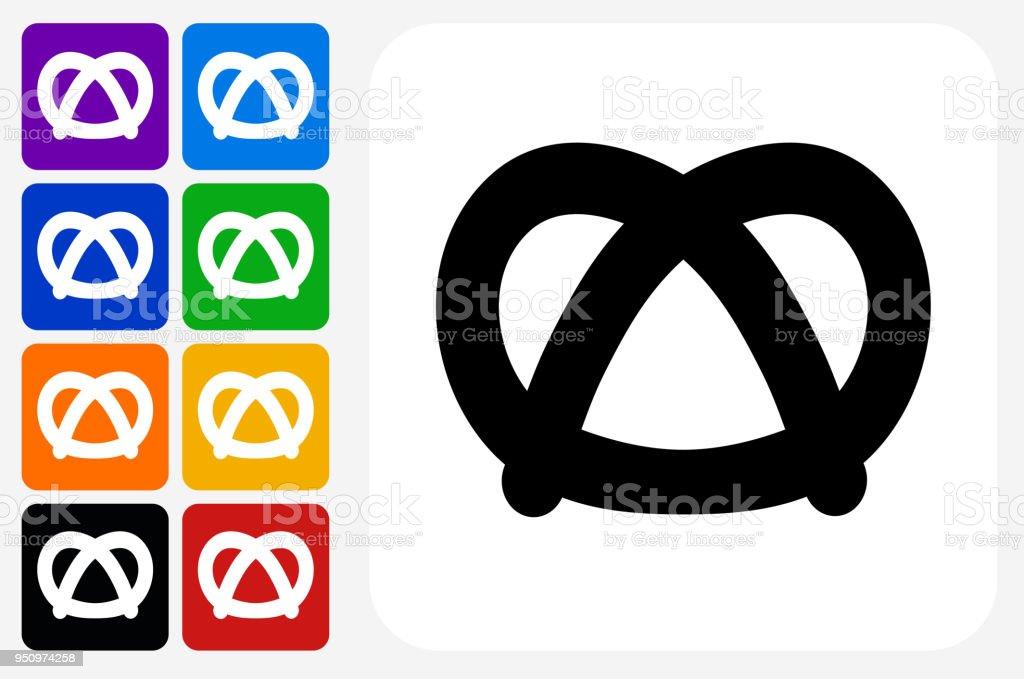 Brezel-Symbol Square Buttonset – Vektorgrafik
