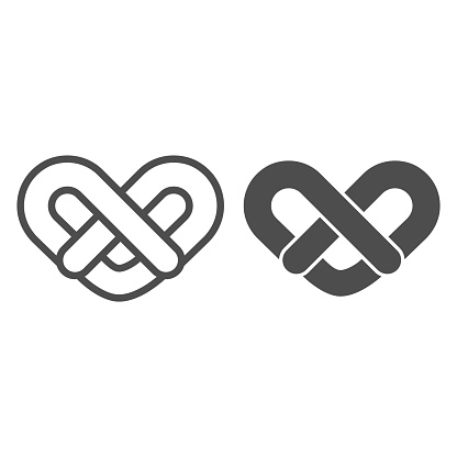 Pretzel line and solid icon. Traditional german soft bun symbol, outline style pictogram on white background. Bakery shop sign for mobile concept and web design. Vector graphics.