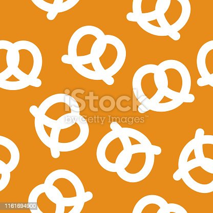 Vector illustration of pretzels in a repeating pattern against an orange background.