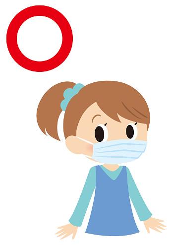 prevent disease girl illust,put on a mask