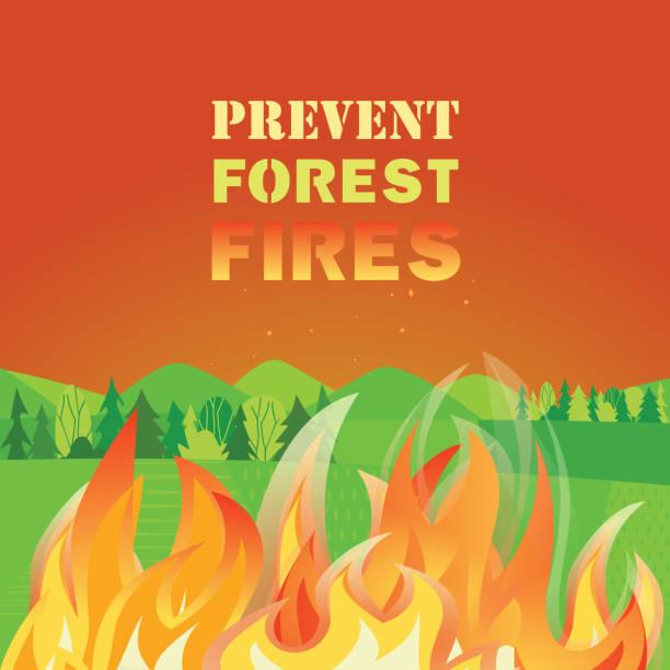 bildbanksillustrationer, clip art samt tecknat material och ikoner med förhindra skogsbränder platt färg vektor affisch concept - skog brand