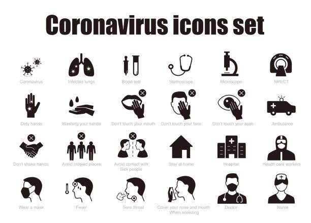 코로나 바이러스 인포 그래픽, 벡터 아이콘에 대한 예방 및 치료 팁 - covid testing stock illustrations