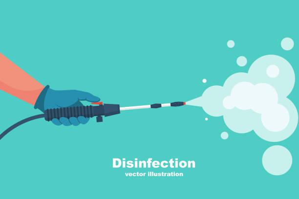 予防の概念。消毒と洗浄。化学保護の男性が消毒します。 - 消毒点のイラスト素材/クリップアート素材/マンガ素材/アイコン素材