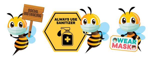 prevention from virus. cartoon cute bee wearing protective mask holding public awareness signboard for social distance, use sanitizer and wear mask. stay safe from coronavirus. - vector - food delivery stock illustrations