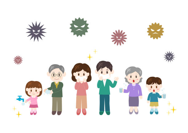 prevention of cold(family) - old man mask stock illustrations