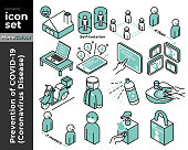 Coloured Outline icon Illustration set of preventions of coronavirus disease (COVID-19). This set illustrates many methos such as Stay at home, Self-isolation, washing hand, wearing mask, Work From Home and so on.