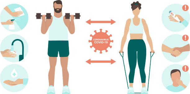 Prevention Practices for Gym and sport club. Coronavirus covid-19 virus protection tips.Safe exercise in public place. Protectyourself and others. vector art illustration