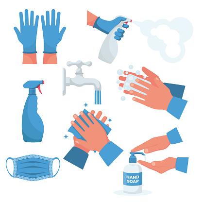 Prevention set. Rubber gloves on hands, medical mask.