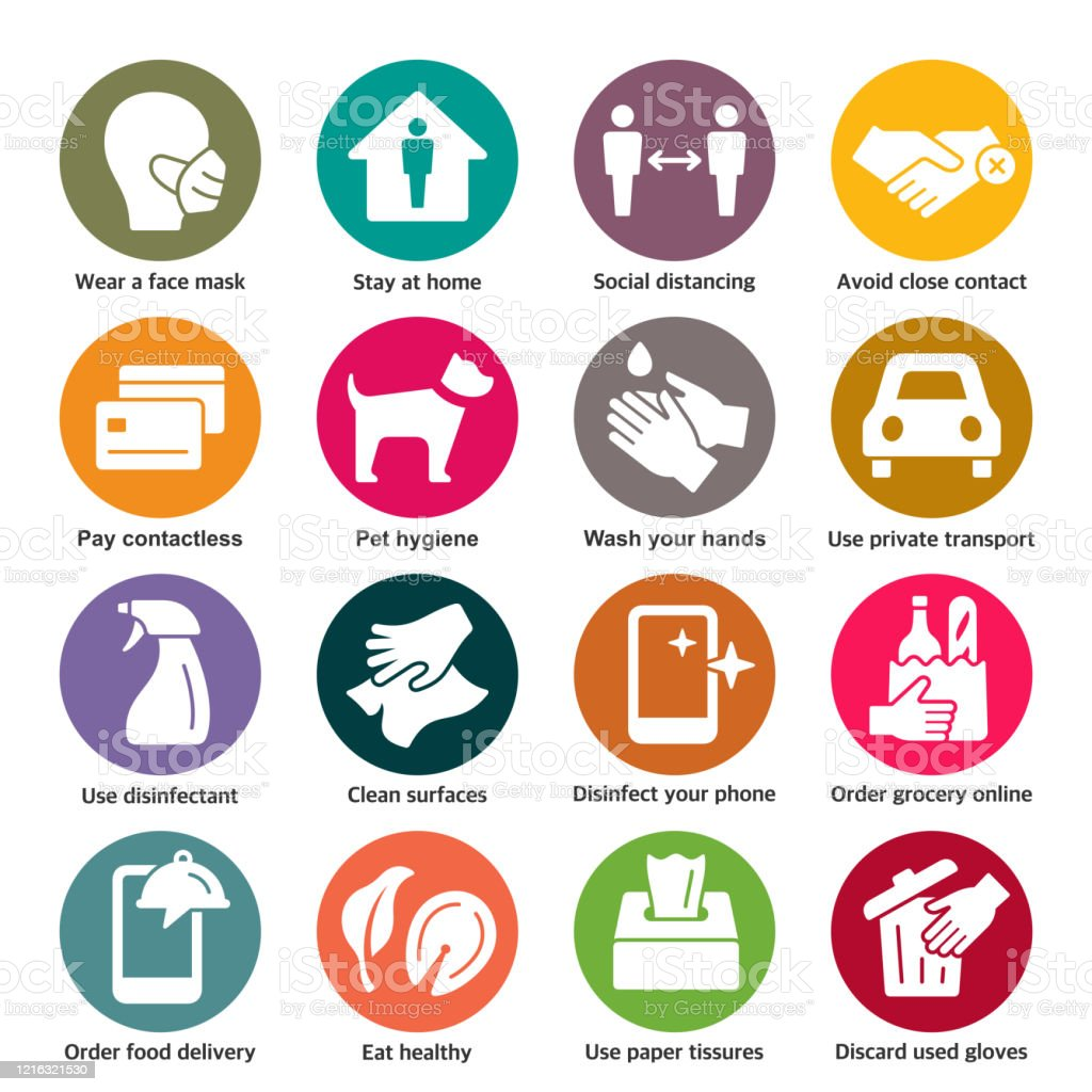 COVID-19 prevention vector icons Coronavirus spreading prevention colorful vector icon set Advice stock vector