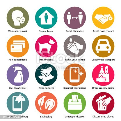 Coronavirus spreading prevention colorful vector icon set